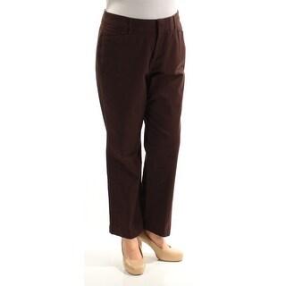 JM COLLECTION $34 Womens New 3728 Brown Petite Straight leg Pants 14W Plus B+B