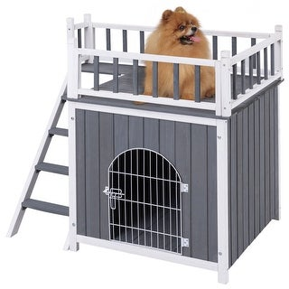 Gymax Wooden Pet House Dog Cat Puppy Room Bed Platform Bed Shelter Indoor Outdoor
