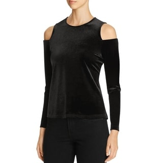 Calvin Klein Womens Casual Top Velvet Cold Shoulder