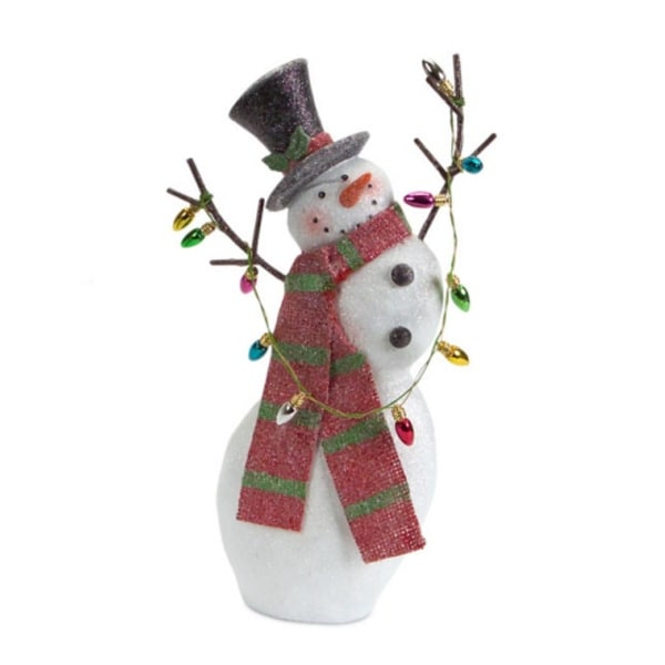 "11"" Glittery Tottering Snowman Christmas Figure with Red Scarf - WHITE"