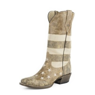Roper Western Boots Mens American Flag Brown