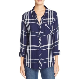 Rails Womens Button-Down Top Button-Down Rolled Sleeves