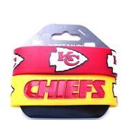 Kansas Chiefs Rubber Wrist Band (Set of 2) NFL
