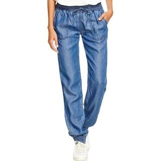 Aqua Womens Jogger Jeans Chambray Comfy