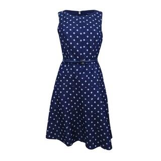 Tommy Hilfiger Women's Belted Denim Fit & Flare Dress - INDIGO