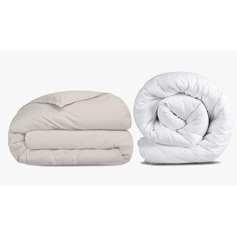 Wool Duvet Insert and Compatible Duvet Cover Set Bundle
