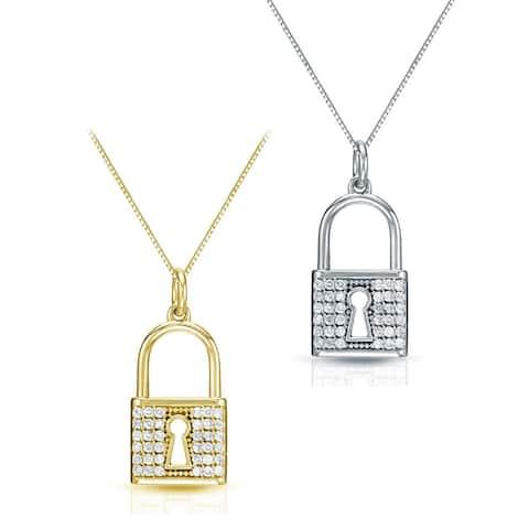 Auriya 14k Gold Pave Diamond Lock Necklace 2/5ctw