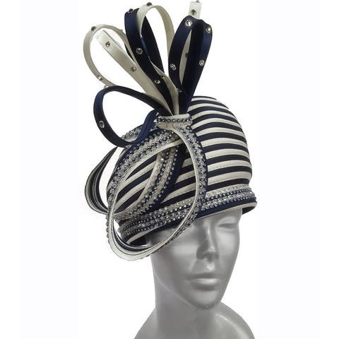 Women's striped beret with satin loops church Derby Easter Hat