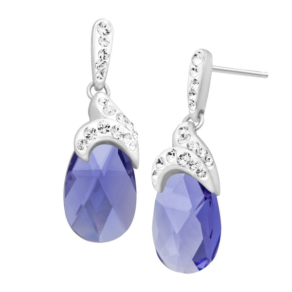 Drop Earrings with Lavender Swarovski Crystal in Sterling Silver - Purple