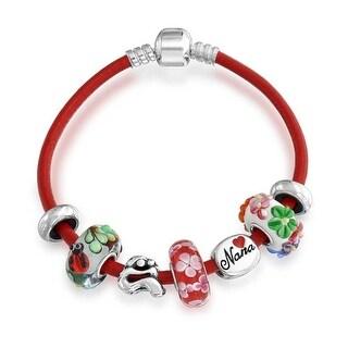 Bling Jewelry 925 Silver Red Nana Family Charm Bead Glass Bracelet