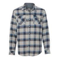 Burnside Yarn-Dyed Long Sleeve Flannel Shirt - Grey/ Blue - M