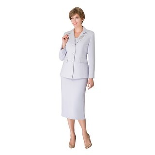 Link to Giovanna Signature 2pc Notch Collar 3-button Skirt Suit w/ Brooch Similar Items in Suits & Suit Separates