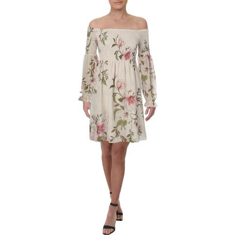 Guess Womens Eria Sundress Floral Off-The-Shoulder - M