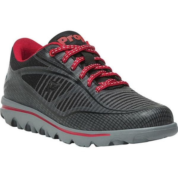 Shop Propet Women s Billie Lace Walking Shoe Black Red Mesh - Free ... 1735fbc57