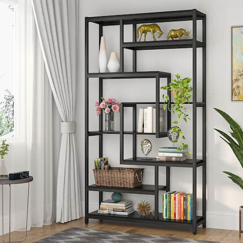 8-Shelves Staggered Bookshelf, Rustic Industrial Etagere Bookcase