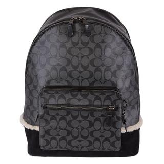 Shop Coach Men s F32673 West Black Signature Canvas Backpack Rucksack -  Free Shipping Today - Overstock - 25779590 b4cc2da7b99e4