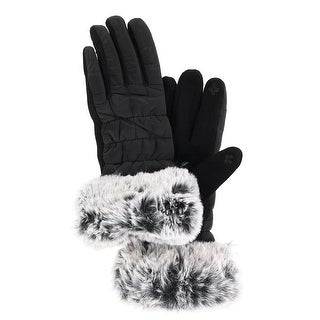 CTM® Women's Touch Screen Glove with Faux Fur Trim
