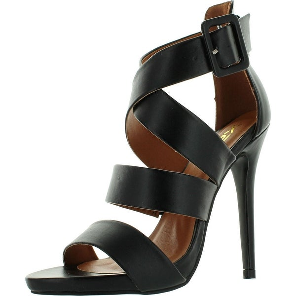 Static Footwear Aisha-1 Womens Strappy Cross Ankle Strap Stiletto Sandals