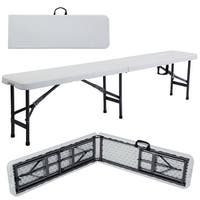 Costway 6' Portable Plastic In/Outdoor Picnic Party Camping Dining Folding Bench