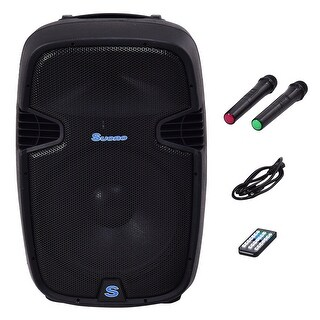 Costway Portable 15'' 1000W Rechargable Battery Powered Speaker DJ/PA System Bluetooth