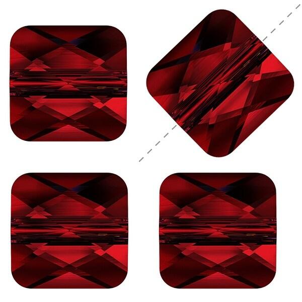 Swarovski Elements Crystal, 5053 Square Mini Beads 6mm, 4 Pieces, Siam