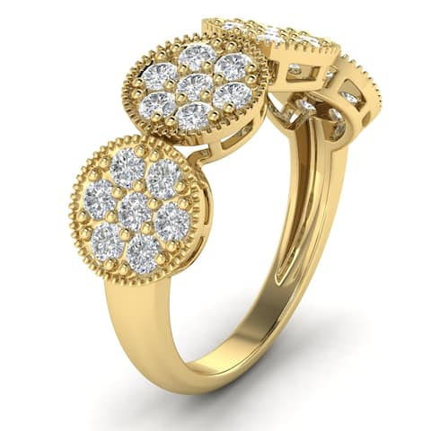 1.15 CTW Flower Four-Stone Cluster Diamond Wedding Band in 14kt