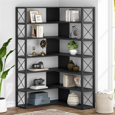 6-Tier Corner Bookshelves, Industrial Corner Etagere Bookcase