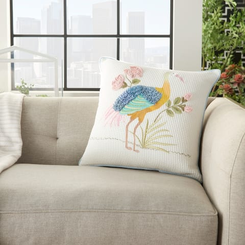 """Mina Victory Plushlines Beaded Crane Floral Multicolor Throw Pillow 18"""" x 18"""""""