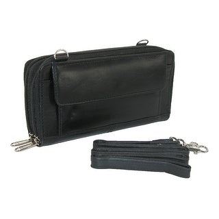 CTM® Women's Leather Zip-Around Bilfold Organizer with Attachable Strap - Black - One size