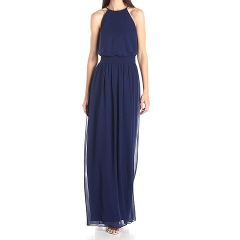 Donna Morgan Navy Women's High-Neck Chiffon Gown Dress