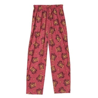 Harry Potter Unisex Gryffindor Crest Lounge Pants - Elastic Waist, Button Fly
