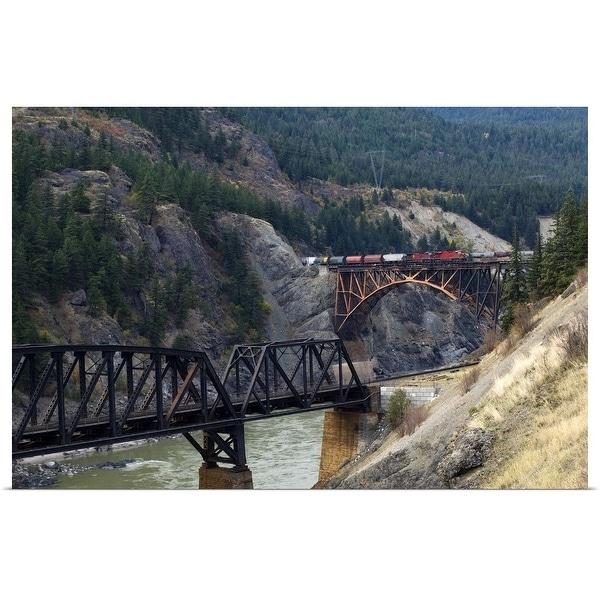 """Freight Train Crossing Cisco Bridge over Fraser River, British Columbia, Canada"" Poster Print"
