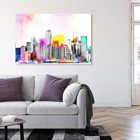 Oliver Gal 'Vibrant NY Bright Lights' Cities and Skylines Wall Art Canvas Print United States Cities - Gray, Pink