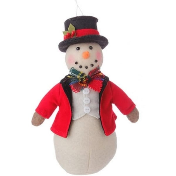 """7"""" Holiday Snowman in Red Coat and Top Hat Christmas Ornament - WHITE"""