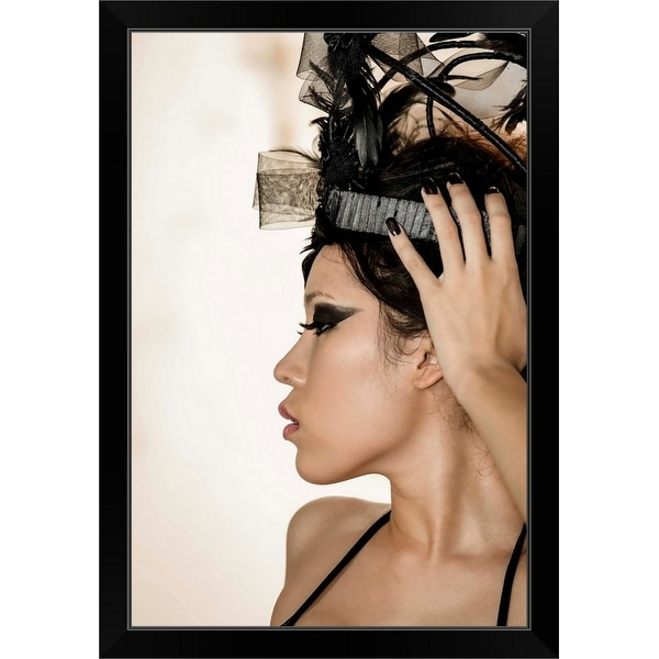 """""""Thai woman with hand on her head"""" Black Framed Print"""