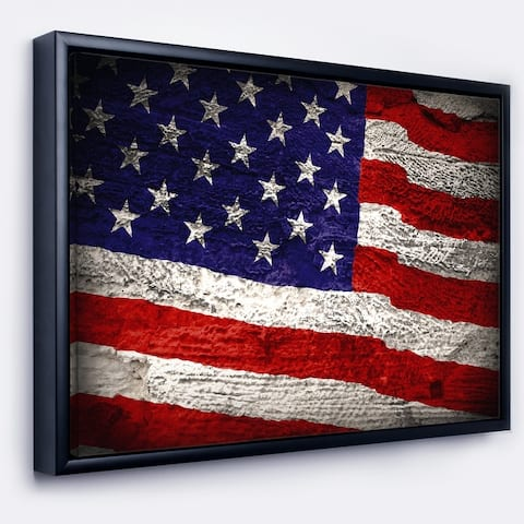 Designart 'Large American Flag Watercolor' Abstract Framed Canvas Artwork Print