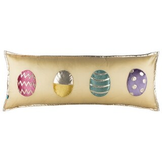 100% Handmade Imported Eggstra Special Throw Pillow Cover, Multicolor on Light Cream, Gold Trim