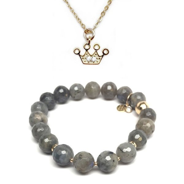 Grey Labradorite Bracelet & CZ Crown Gold Charm Necklace Set