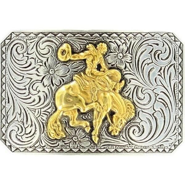 Nocona Western Belt Buckle Scroll Bronc 3 x 2 Silver Gold - 3 x 2