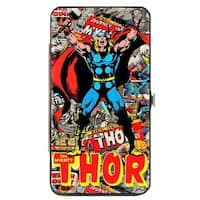 Marvel Comics The Mighty Thor Pose Stacked Retro Comics Hinged Wallet  One Size - One Size Fits Most