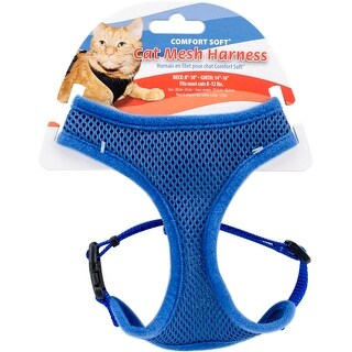 Comfort Soft Adjustable Mesh Cat Harness-Blue