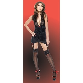 OR198025 Morris Costumes Lace Halter Dress Black,One Size