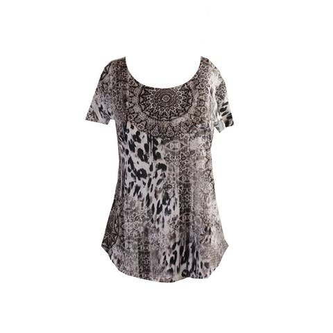 Style & Co. Beige Black Short-Sleeve Printed Studded T-Shirt XS