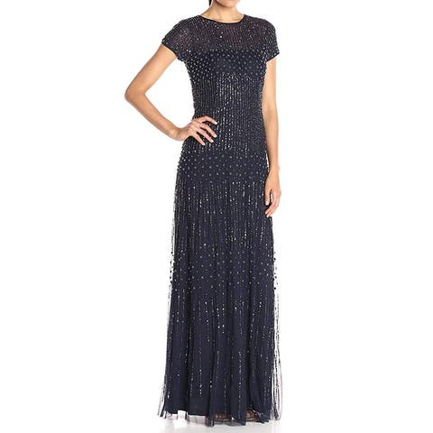 Adrianna Papell Gown Navy Blue Women's Size 12 Beaded Cap Sleeve