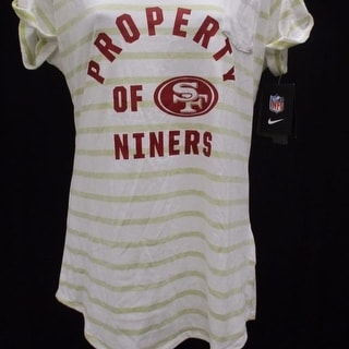 San Francisco 49ers Women Sizes S M L XL Nike Striped V Neck Shirt 38