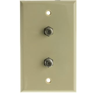 Offex TV Wall Plate with 2 F-pin Couplers, Ivory
