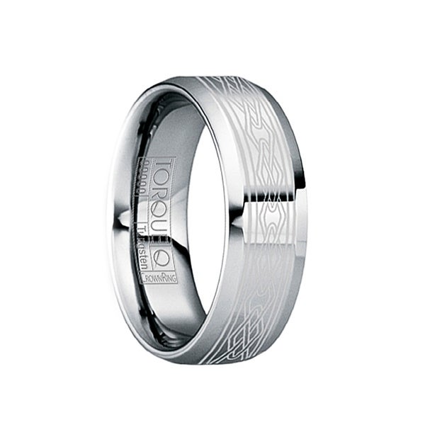 MAXENTIUS Beveled & Polished Tungsten Wedding Band with Engraved White Celtic Motif by Crown Ring