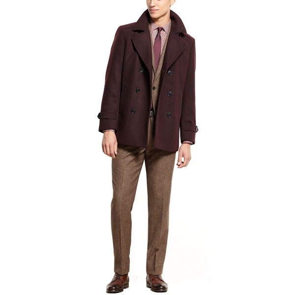f9abee4aa8 Shop Bar III Carnaby Collection Slim Fit Burgundy Peacoat 44 Long 44L Coat  Jacket - Free Shipping Today - Overstock - 15912838