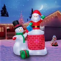 Holidayana Christmas Inflatable Giant 10 Ft. Santa Claus & Snowman Duo Christmas Inflatable Featuring Lighted Interior