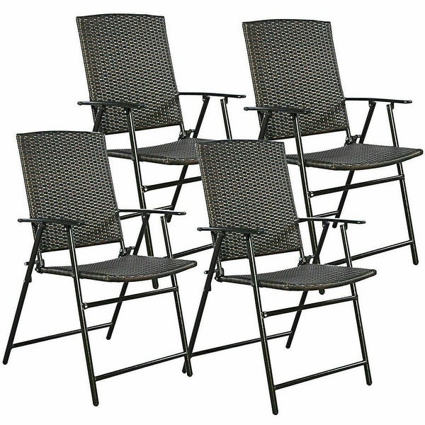 Of Set Chairs 4 Brownfoldingdining: Shop Costway Set Of 4 Folding Rattan Chair Outdoor Indoor